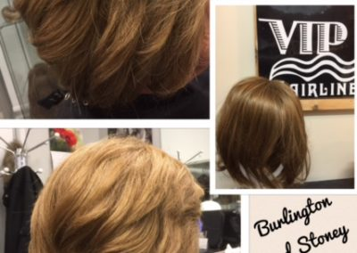 Synthetic wig with customized human highlights
